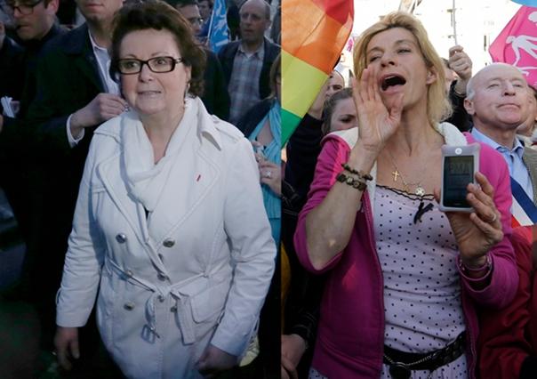 Christine Boutin et Frigide Barjot (photos Jacky Naegelen/Reuters)